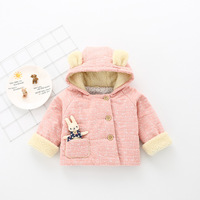 2017 Sale New Fashion Girls Denim Print Girls Winter Coat Tong Jacket Girl Winter Hooded Plus Velvet Thick Warm Cardigan Cotton