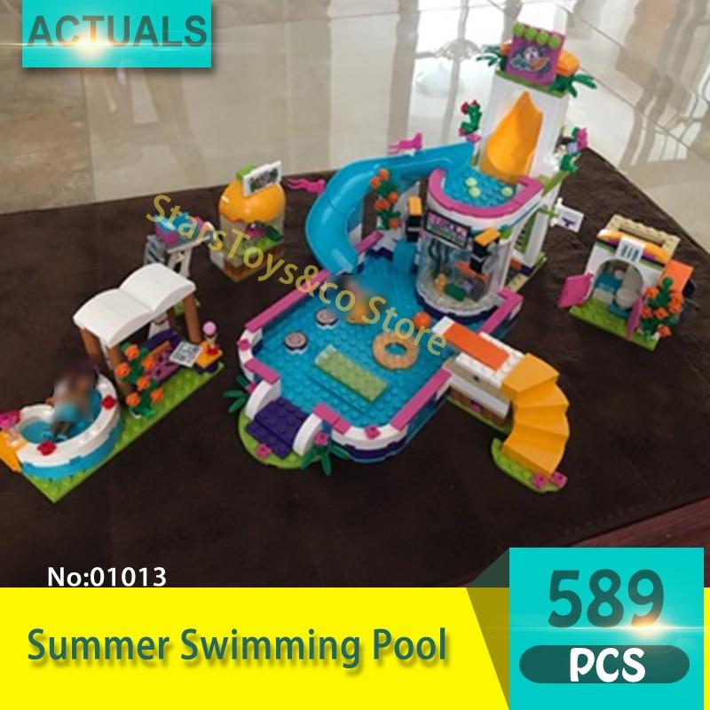 Lepin 01013 589Pcs Friends series Summer Swimming Pool Model Building Blocks Set  Bricks Toys For Children Gift 41313 плоская кисть kraftool klassik 1 01013 25