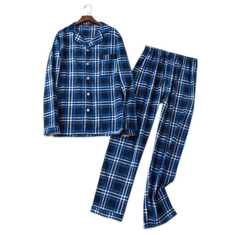 Sexy plaid 100% brushed cotton   pajamas     sets   Mens autumn long-sleeve sleepwear for Male plus size pijamas hombre pyjamas