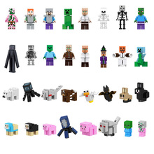 Single Minecrafted Building Blocks Zombie Baby Bat Chicken Rabbit Pig Wolf Farm Animal Figure Bricks Toys gift Compatible Legoed(China)