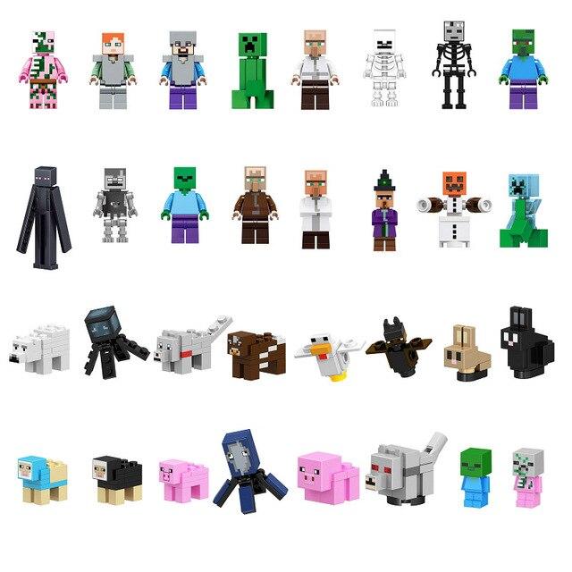 Single Minecrafted Building Blocks Zombie Baby Bat Chicken Rabbit Pig Wolf Farm Animal Figure Bricks Toys gift Compatible Legoed