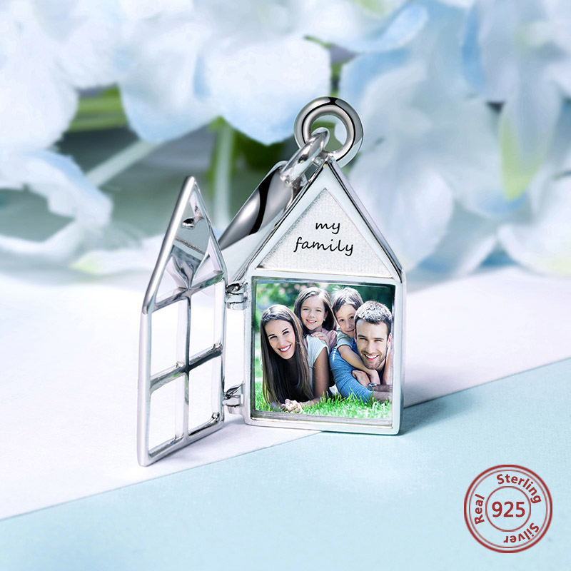 2019 New 925 Sterling Silver house Photo Charms Fit Pandora Bracelet Customize Photo Beads DIY fine Jewelry for family gifts in Charms from Jewelry Accessories