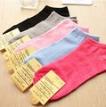 Wholesale retail female lady girl's Soft Cotton Home ankle Socks anklet Cute Beautiful Loving sweet solid 5 color option whcn