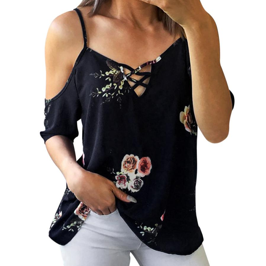 Women Floral Printed   Blouse   Fashion Ladies Open Shoulder   Shirt   Summer Cut Out Short Sleeve V Neck Casual Tops PY