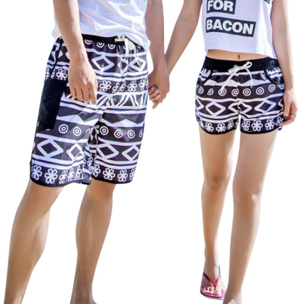 MISSKY 2018 Summer Lovers Casual Quick Drying Printing Fashion   Shorts   for Couple Free Shipping