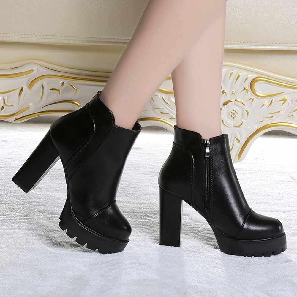 Vrouwen Side Rits Schoenen Lederen Laarzen Vierkante Hoge Hak Enkellaars # TXD