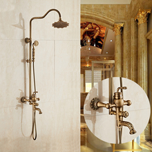 Free Shipping Luxury Antique Carving Rainfall Shower Sets Faucet Mixer Tap With Tub Faucet Single Handles Bath & Shower Faucet