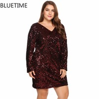 BLUETIME Big Plus Size Female Retro Sequin Autumn Dress Women Long Sleeve Sexy Bodycon Party Club