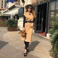 EIFURKOP кашемировый жилет женская мода двухстороннее никелевое пальто длинный хаки жилет с поясом