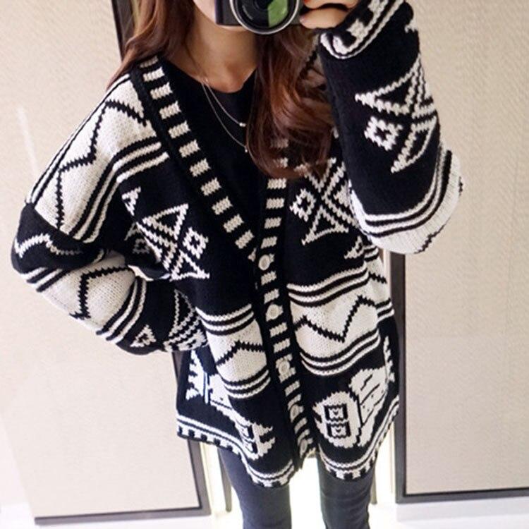 Women Geometric Tribal Aztec Knitted Cardigan Loose Sweater Coat Boho cosw0002