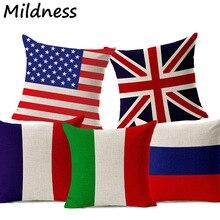 a3efccbefba41 England Amerika Russland Nationalen Flagge Gedruckt Baumwolle Leinen Kissen  Fall Verwenden Für Office Home Dekorative Wurf