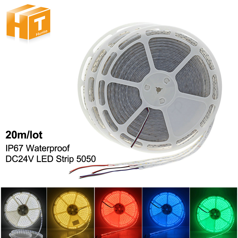 DC24V 20m/tape LED Strip 5050 IP67 Waterproof 60LEDs/m Warm White / White / RGB Outdoor Lighting LED Strip