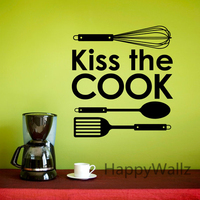 Kiss The Cook Kitchen Quote Wall Sticker DIY Family Home Kitchen Wall Decal Decorative Quote Kitchen Vinyl Wall Art Decal Q106