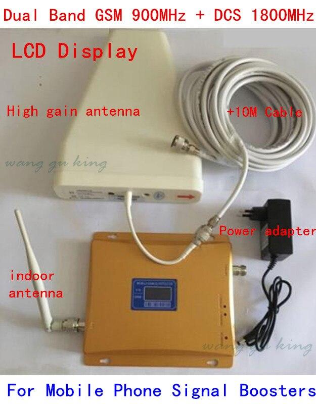 1 ensemble double bande répéteur 900 1800 amplificateur de téléphone portable amplificateur LCD affichage GSM DCS double Signal Booster avec antenne fouet LDPA