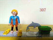 1 set playmobil toy of pretend toy diver with shark Action Figures mini figure child toys gift