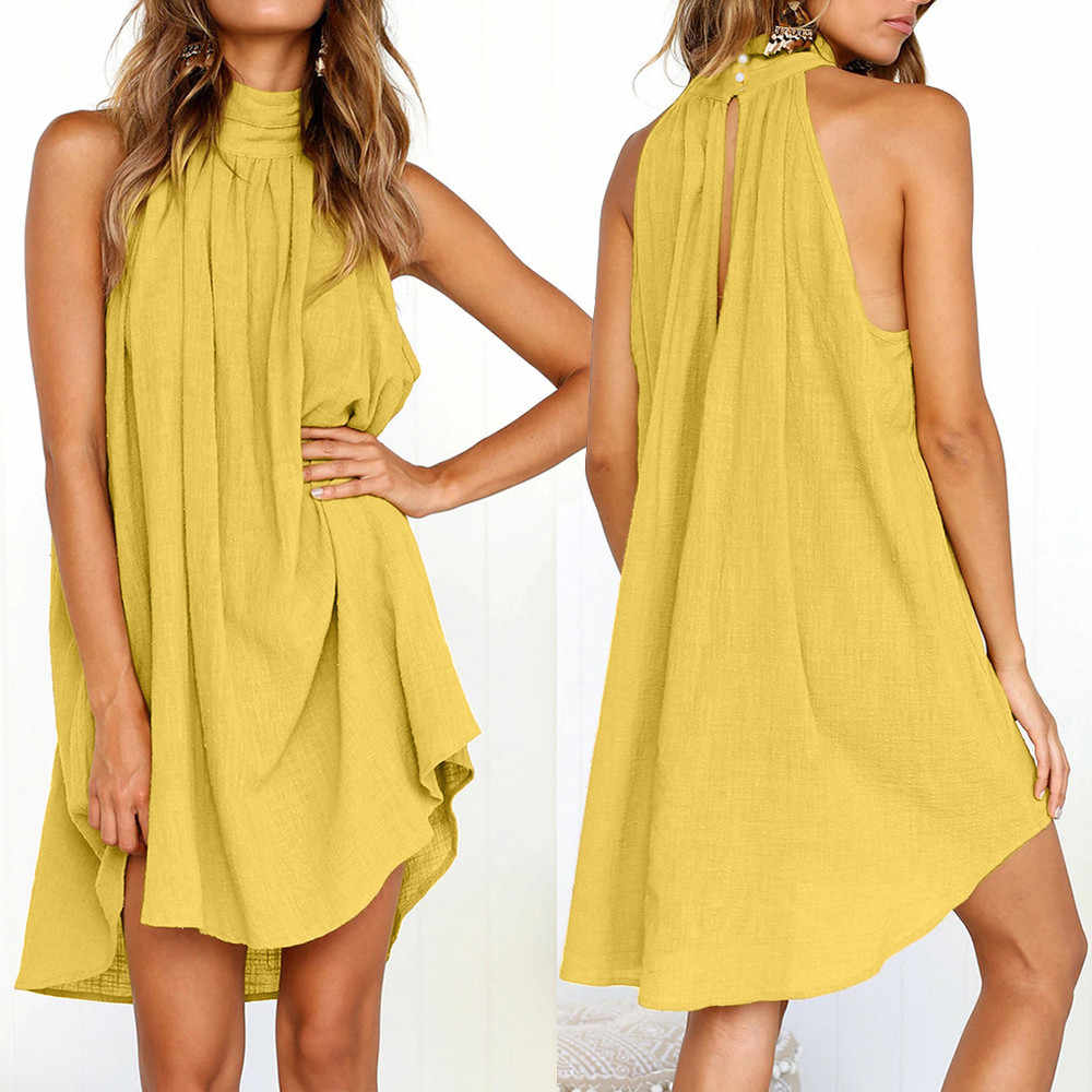 Dress Ladies Summer Style Beach Sleeveless sexy Party Dress Womens elegant clothes robe femme elbise Holiday Irregular  4.99#47