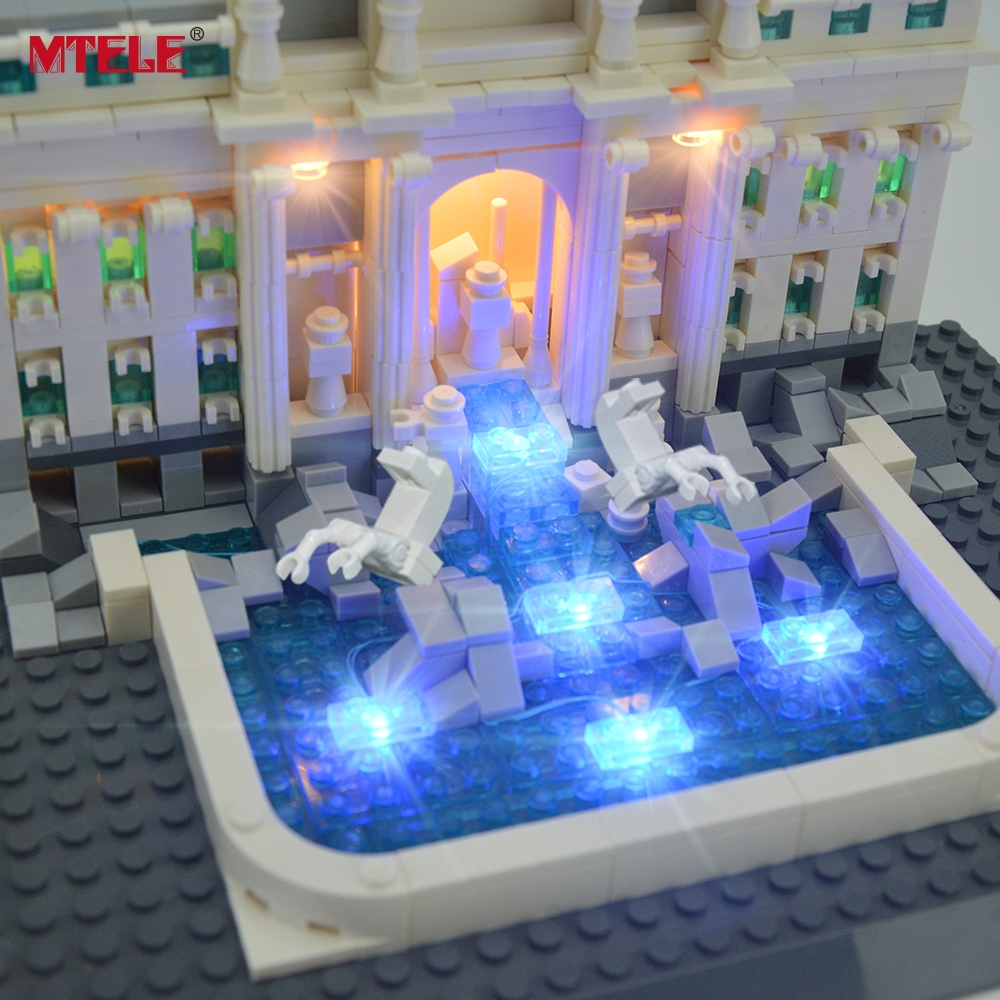 MTELE Brand LED Light Up Kit Untuk Trevi Fountain Architecture Siri - Mainan pembinaan - Foto 5