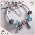 Popular European Famous Brand Gift Silver Jewelry Blue Sea Animal Series 100% 925 Real Silver Sea Animal Charm Bracelet