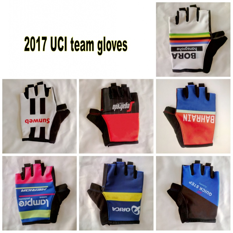 12 colors 2017 uci pro team Cycling <font><b>gloves</b></font> with GEL shock absorption high quality fingerless summer half finger Bike <font><b>gloves</b></font>