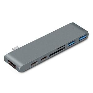 "Image 5 - USB 3.0 סוג C רכזת כדי HDMI מתאם 4 K Thunderbolt 3 USB C Hub עם רכזת 3.0 TF SD קורא חריץ פ""ד עבור MacBook Pro/אוויר 2018"