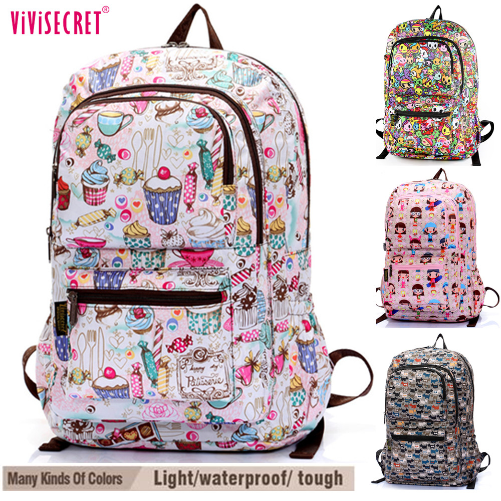 "Women Waterproof Nylon 15"" Laptop Computer Backpack School Travel Satchel Bag Cute Cartoon Harajuku Mochila Escolar Girls Boys"