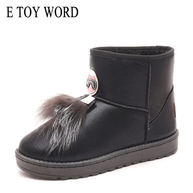 E TOY WORD Women Warm Winter Snow Boots Slip On Ladies Comfortable fur ankle boots women Footwear top fashion boots Female in Ankle Boots from Shoes