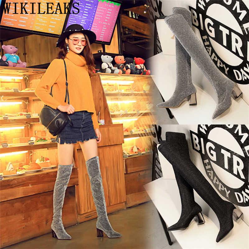 เข่ารองเท้า glitter รองเท้าบูทส้นสูง bigtree รองเท้าต้นขาสูงรองเท้าส้นหนารองเท้าผู้หญิง cuissardes femme chaussure bottes