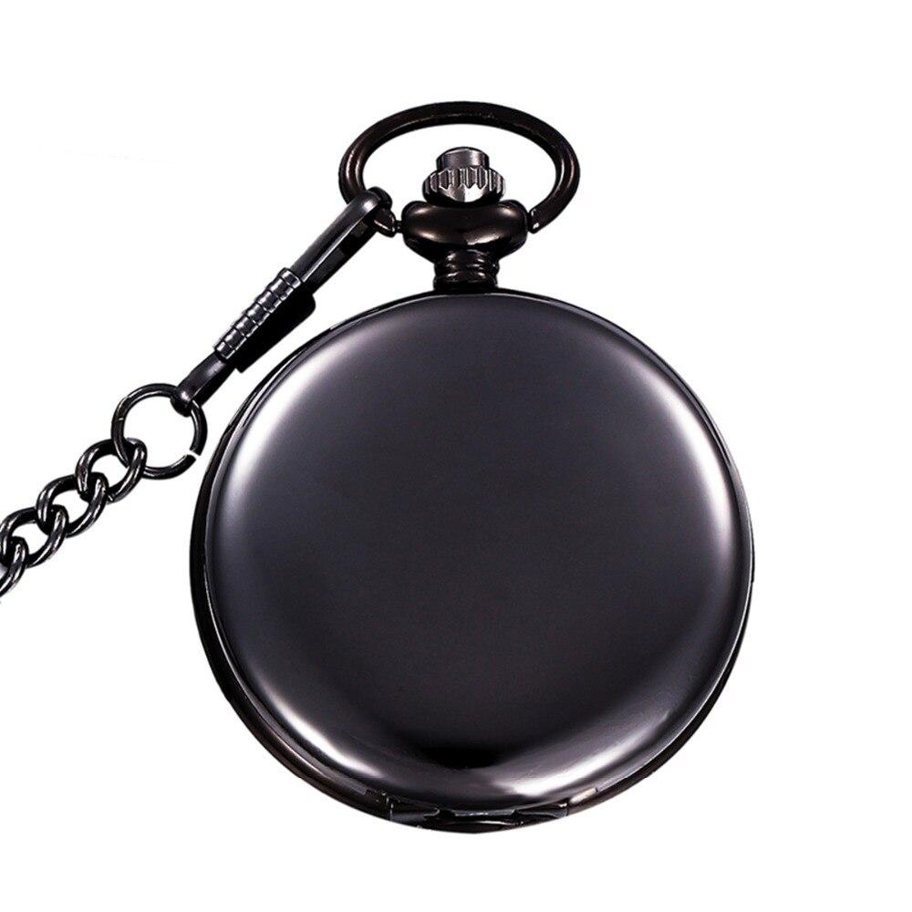 Retro Black Fashion Silver Smooth Steampunk Quartz Pocket Watch Stainless Steel Pendant 30CM Chain For Men Women