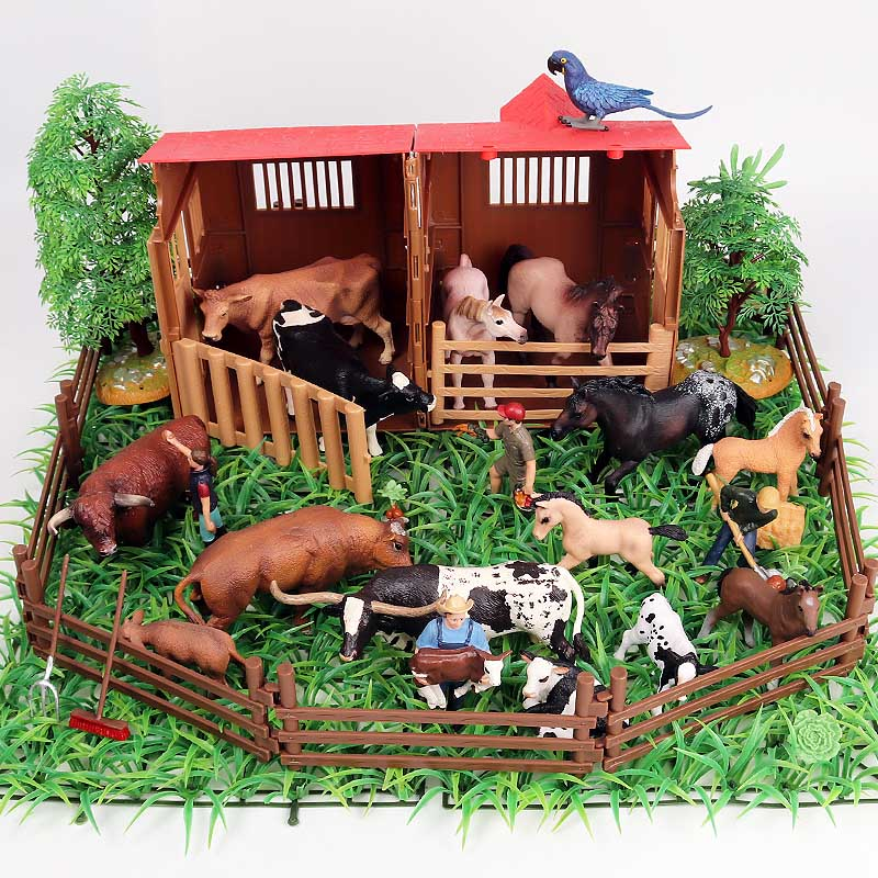 Oenux Farm House Simulation Poultry Animals Set Horse Cow Hen Figurines Farm Zoo Staffer Action Figures Toy For Kids Xmas Gift