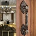 370mm High Quality antique brass wood door handles bronze Gate door pulls, KTV Hotel Glass door vintage wooden door  handles
