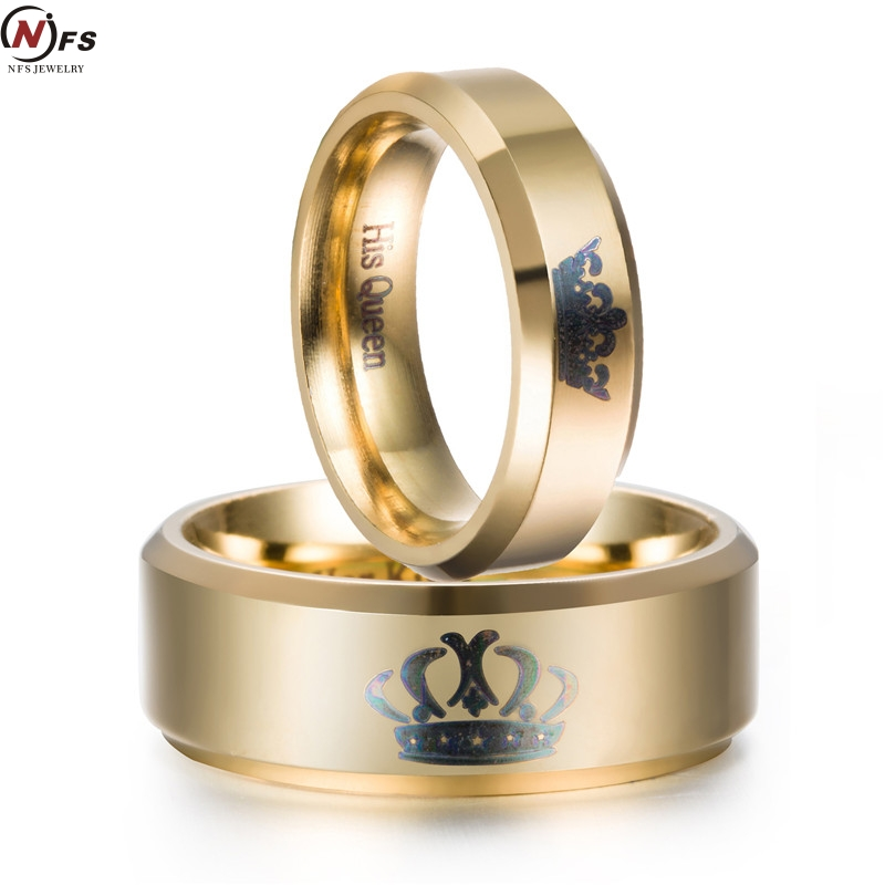NFS King And Queen Couple Rings Gold Stainless Steel Crown Rings For Couples Lovers Love Promise