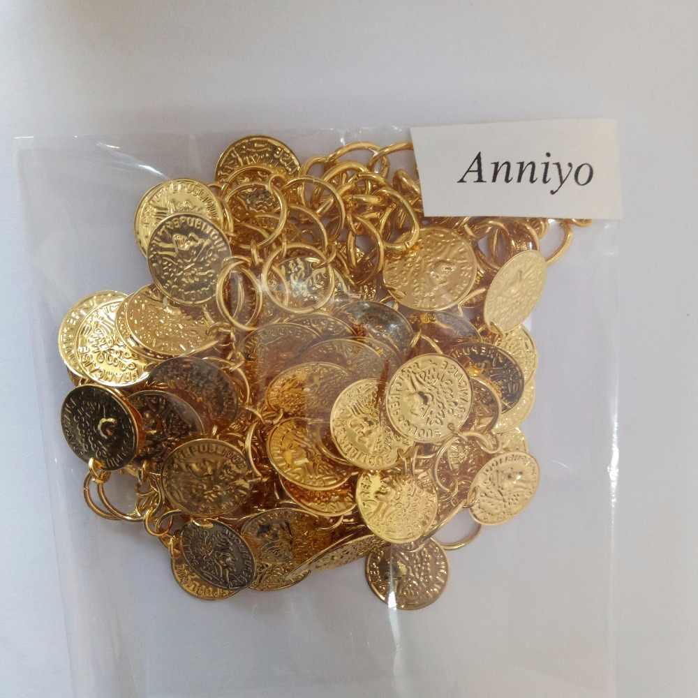 Anniyo 45 Cm + 5 Cm/Kim Loại Đồng Xu Vòng Đeo Cổ Cho Nữ Màu Vàng Đồng Xu Lớn Cổ Châu Phi Trang Sức Ethiopia may Mắn Tặng 006006