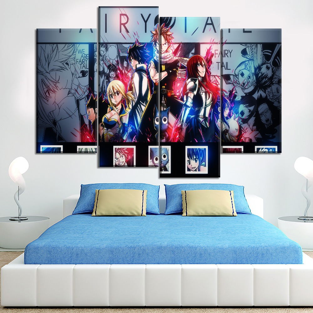 HD Cartoon Canvas Painting Fairy Tail Artwork Anime Poster Decorative Paintings for Bedroom Decor 20x35 20x40 20x50cm No Frame