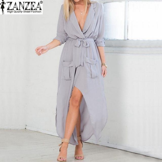 Plus Size 2017 Estilo Verão Mulheres Sexy Ladies Chiffon Praia dress casual solto vintage longo maxi dividir v neck vestidos vestidos