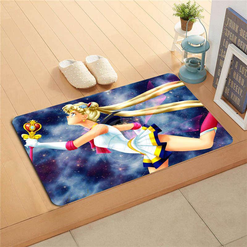 W530L37 Custom sailor moon Watercolor Painting Doormat Home Decor Door mat Floor Mat Bath Mats foot pad #F33