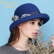 Charles Perra Women Winter Hat Warm Wool Cap New Fashion Elegant Bowknot England Lady Bucket Hats Casual Female Fedoras 7626