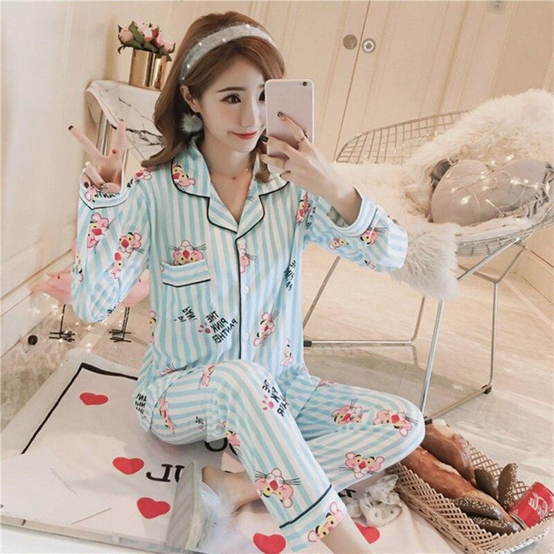 2019 New Spring Casual Striped Cotton   Pajama     Sets   for Women Long Sleeve Cartoon Print Sleepwear Loungewear Homewear Pijama Mujer