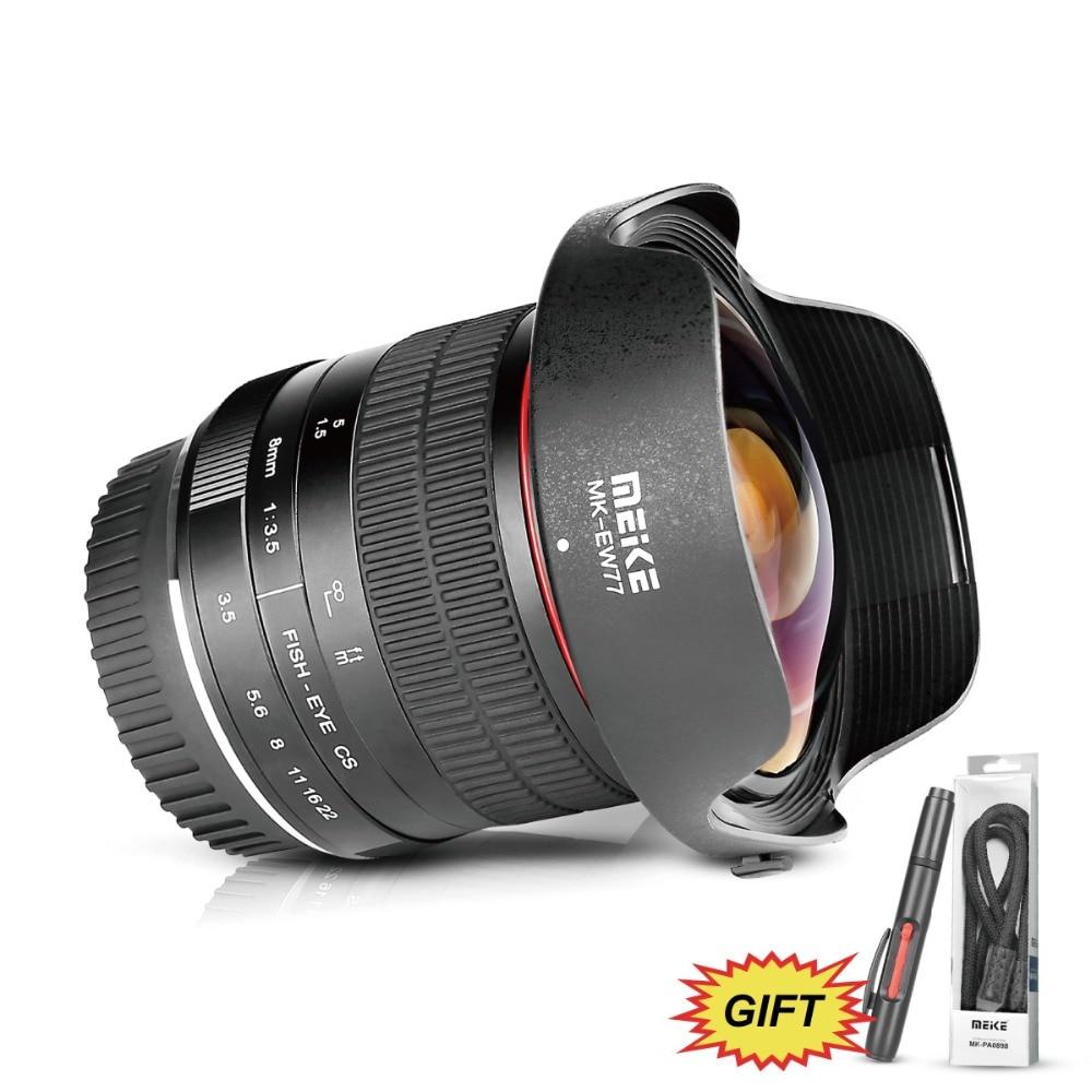 Meike 8mm f/3.5 Grand Angle Fisheye Camera Lens pour Nikon D3400 D5500 D5600 D7000 DSLR Caméras avec APS-C/Plein Cadre + Cadeau Gratuit