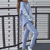 Two Piece Set Women Patchwork Suit Hooded Top Sweatpants Sportswear Track Suit Outfit Female Winter Sweatshirt Pants Hoodie