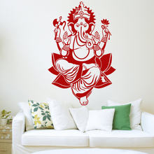 Lord Ganesh Wall Sticker Ganapati Vinyl Hindu God Elephant Decal Stencil Art Gift For Living Room Waterproof Wallpaper Z324