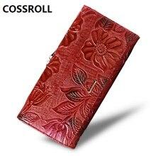 women wallets genuine leather lady purse long floal female wallet luxury designer real leather purses