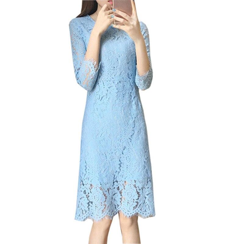 2018 Spring Ladies Lace Vestidos Blue Sweet Elegant Hollow Out Lace Dresses Women Slim O-neck Princess Party Dress RE0415
