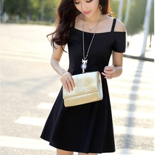 2019 Summer Party Dress Sweet Solid Off Shoulder Strap Chiffon Female Short Sleeves