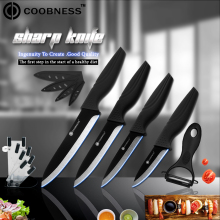 Kitchen Knife Set COOBNESS Brand 4 Piece Ceramic One Peeler Holder +3, 4, 5, 6 inch Black Blade Cooking Accessories