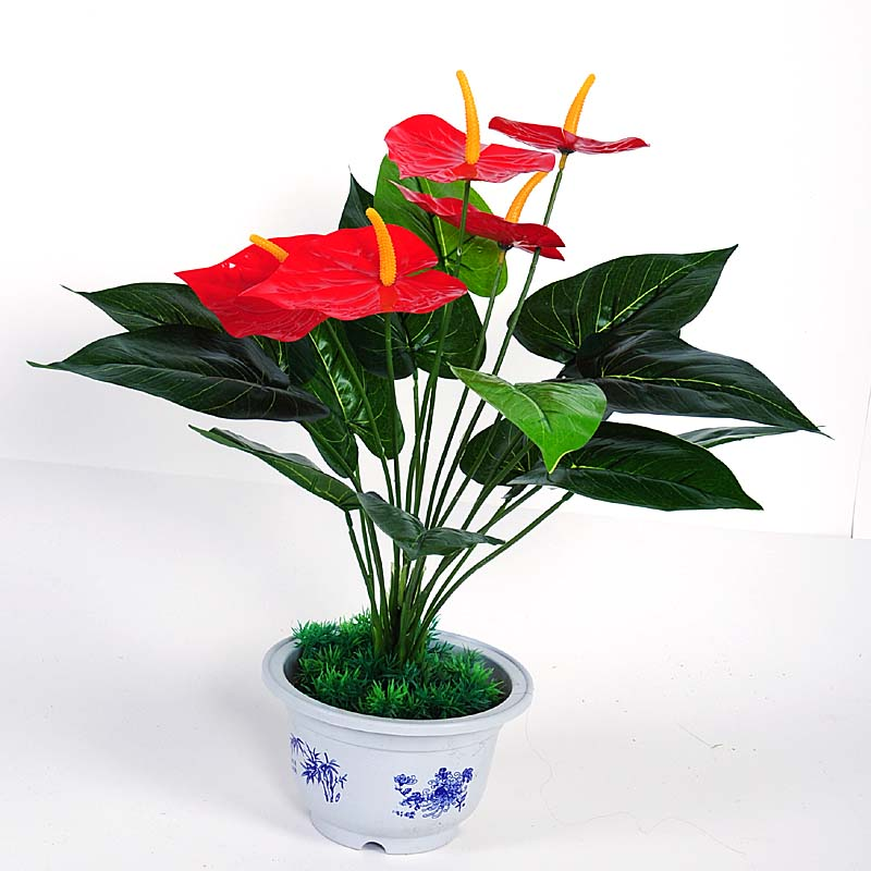 decorative artificial perennial flower silk indoor flowers anthurium Silk House Plants