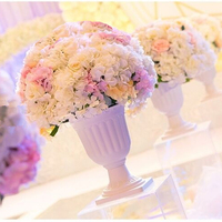 Dia 40cm Giant artificial silk hydrangea rose road lead big flowers wedding decorative table centerpiece pillar flower 4pcs/lot