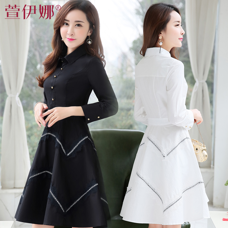 Dance  show Store Womens Elegant Vintage Striped Button Down Sexy Side Split Slit Belted 2017 Summer Work Office Casual Shirt Dress
