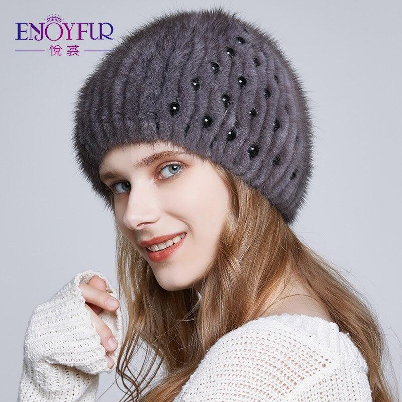 ENJOYFUR Для женщин реального норки Шапки для зимы теплые вязаные женские шапочки с высокое качество меховой моды Bean шапки для леди