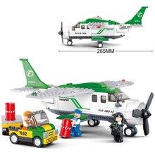 Sluban 0362 Compatível Legoing Tripulações Da Aviação Avião Modelo de Aeronave Edifício Conjunto Bloco de Construção DIY Brinquedos Presentes de Natal