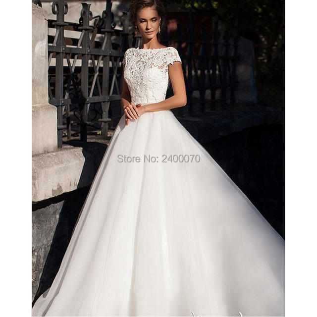 Elegant Lace Bodice Wedding Dresses Cap Sleeves Country Bridal Gown ...